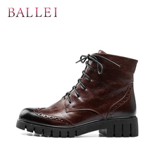 BALLEI Classic Warm Winter Ankle Boots Handmade Genuine Leather Lace-up Retro Round Toe Shoes Soft Square Heels Casual B1