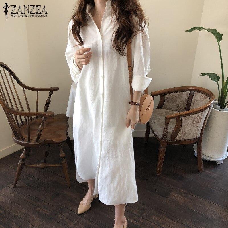 2018 Autumn Winter ZANZEA Women Casual Long Dress Female Long Sleeve Maxi Dresses Kaftan Cotton Linen Work Vestido Robe Femme