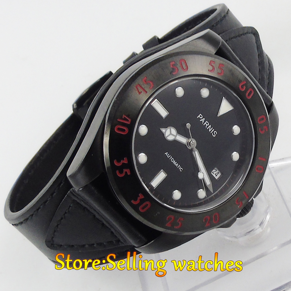 Parnis 43mm mechanical steel PVD case MIYOTA automatic sapphire Crystal Mens Watch цена