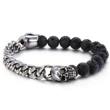 Granny Chic Fashion Volcanic Stone Punk Skull Man bracelets & bangles fashion bracelet for man jewelry with color protection