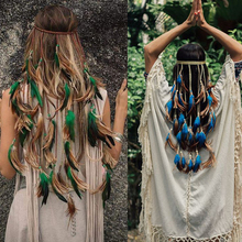 Feather Rope Crown AWAYTR 2018 Boho White Elastic Gypsy Festival Head Band for Women Fashion Indian Hair Accessories