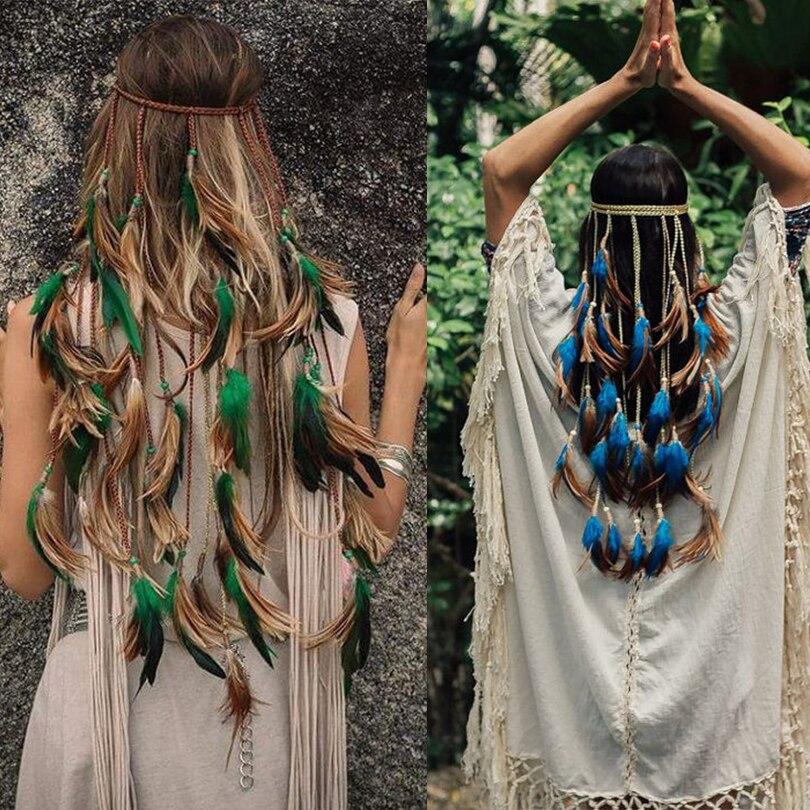 Feder Seil Crown AWAYTR 2018 Boho Weiß Elastische Gypsy Festival Kopf Band für Frauen Mode Indisches Haar Zubehör