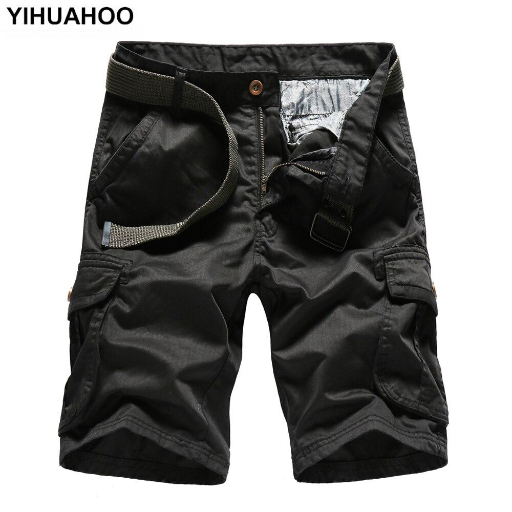 YIHUAHOO Summer Shorts Men 2018 Casual Cotton Short Pants Army Military Trousers Pockets Bermuda Cargo Shorts JOB-5060