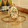 2015 Luxury Golden Hand Wind Mechanical Pocket Watch Rome Hollow Skeleton Watches Fashion Men S Vintage
