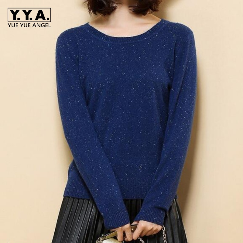 2018 Womens Real 100% Cashmere O-neck Variegated Yarn Knitted Pullover Dyed Multi Base p ...