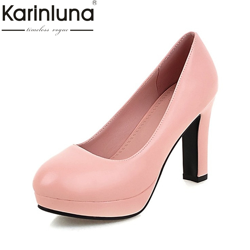 KarinLuna Hot Sale Small Big Size 32-43 High Heels Women Pumps Elegant Round Toe Platform Wedding Office Lady Woman Shoes 2017 hot sale fashion style classic women pumps leisure round toe slip on med heels mature office lady easy walking hot shoes