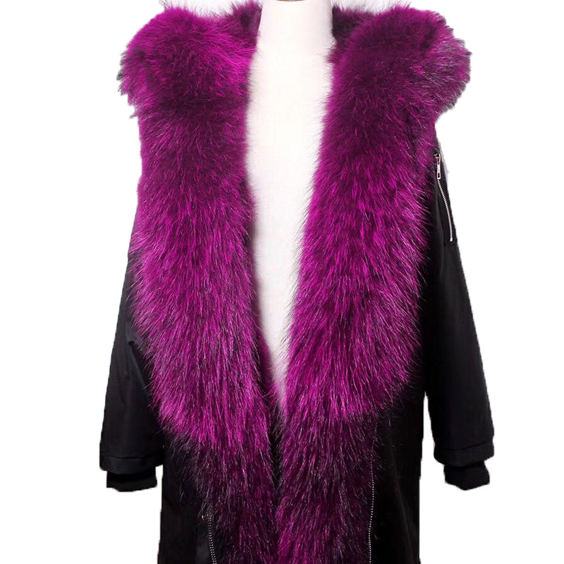 Solid Warm Raccoon Fur Collar Coat Women Winter Real Raccoon Fur Liner Hooded Jacket Women Parka Female Ladies FP101203 printed long raccoon fur collar coat women winter real rabbit fur liner hooded jacket women bomber parka female ladies fp896