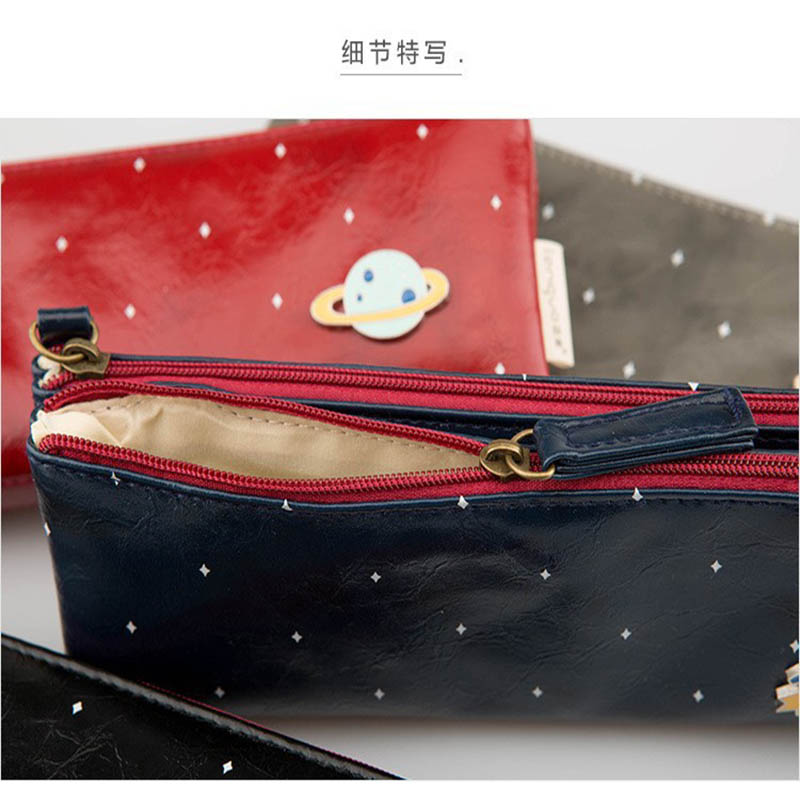 Double Pencil Bag PU Zipper Students Pen Holder Charming Star High Quality European Pencil Cases School Office Stationery Gifts big capacity high quality canvas shark double layers pen pencil holder makeup case bag for school student with combination coded lock