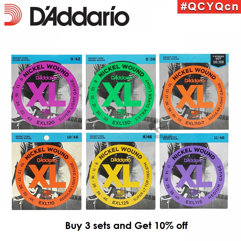 D'Addario XL Nickel Round Wound Electric Guitar Strings EXL110 EXL115 EXL120 EXL125 EXL130 d addario daddario exl110 american made nickel wound electric guitar strings regular light 10 46