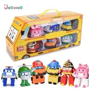 Image 1 - مجموعة من 6 قطعة بولي سيارة الاطفال لعبة روبوت تحويل سيارة الكرتون أنيمي ألعاب شخصيات الحركة للأطفال هدية juguداعي