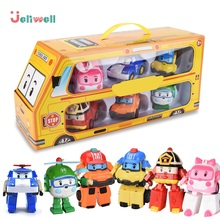 Set of 6 Pcs Poli Car Kids Robot Toy Transform Vehicle Cartoon Anime Action Figure Toys For Children Gift Juguetes