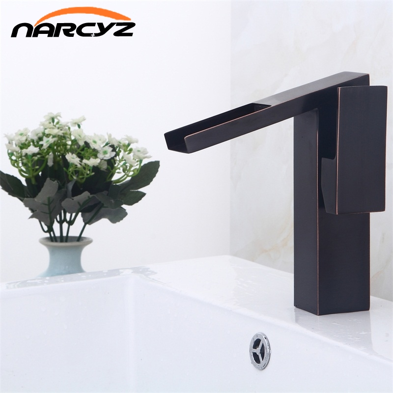 Black ORB waterfall faucet bathroom single handle blackend basin mixer sink tap cold and hot mixer tap B502 quyanre waterfall basin faucet blackend orb nickel single handle mixer tap sink vanity faucet bathroom basin tap