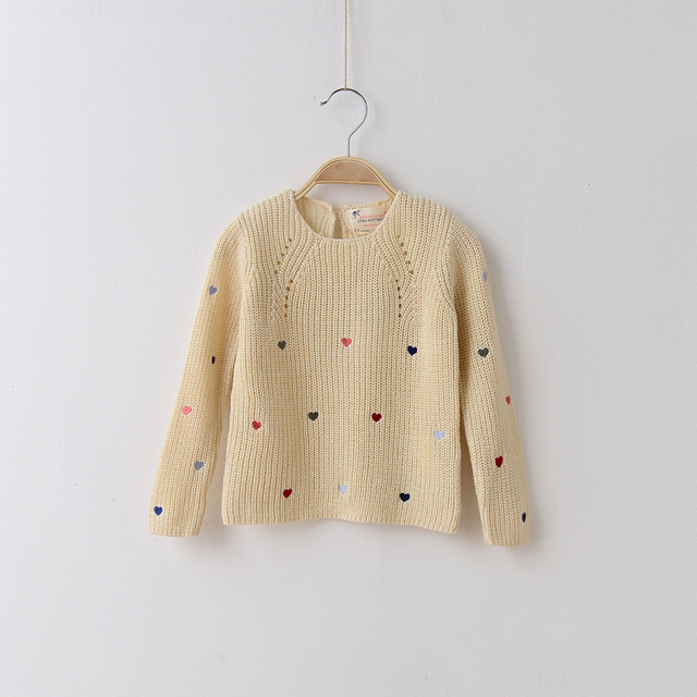 Cotton Knitted Girls Sweater Heart Embroidery Long Sleeve Pullovers New 2014 Winter Swearter For Girls