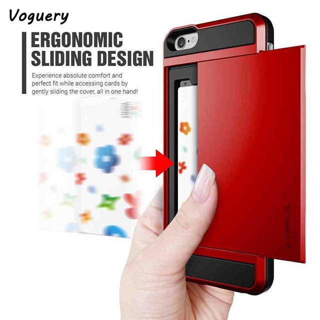 separation shoes 4db00 5d565 US $3.34 20% OFF|Card Pocket Wallet Case Cover for iPhone 5 5s SE 6s 6 7 8  Plus Slide Armor ID Card Holder Pocket Wallet Phone Case for iPhone X -in  ...
