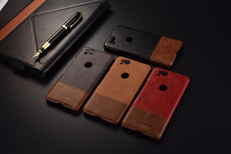 Case For Google Pixel 2 Kezihome Luxury Hit Color Genuine Leather Hard Back Cover For Google Pixel2 5.0'' Phone Cases