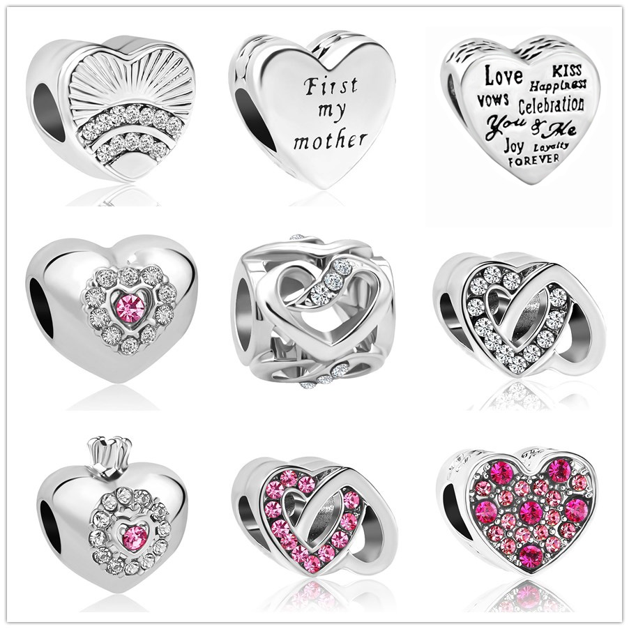 Metal Beads fan of love first my mother charm heart Fits Original Pandora Charms Bracelet DIY women Jewelry Making DIY berloques(China)