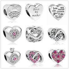 Silver fan of love first my mother charms heart Beads Fits Original Pandora Charms Bracelet Jewelry Making 2018 DIY berloques(China)