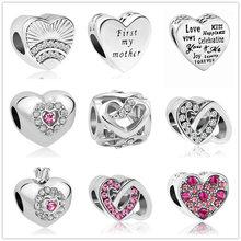 11e7b5e0ce4e15 Argento fan di amore prima la mia madre Pendenti e Ciondoli cuore Perline  Adatto Originale Pandora Pendenti e Ciondoli Bracciale.