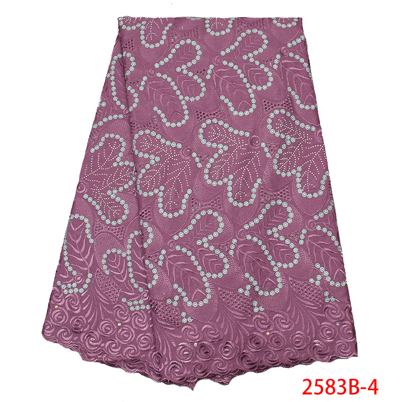 2019 Latest Design High Quality Cotton Lace Fabric Swiss Voile Lace In Switzerland Embroidery Laces With Stones KS2583B-4