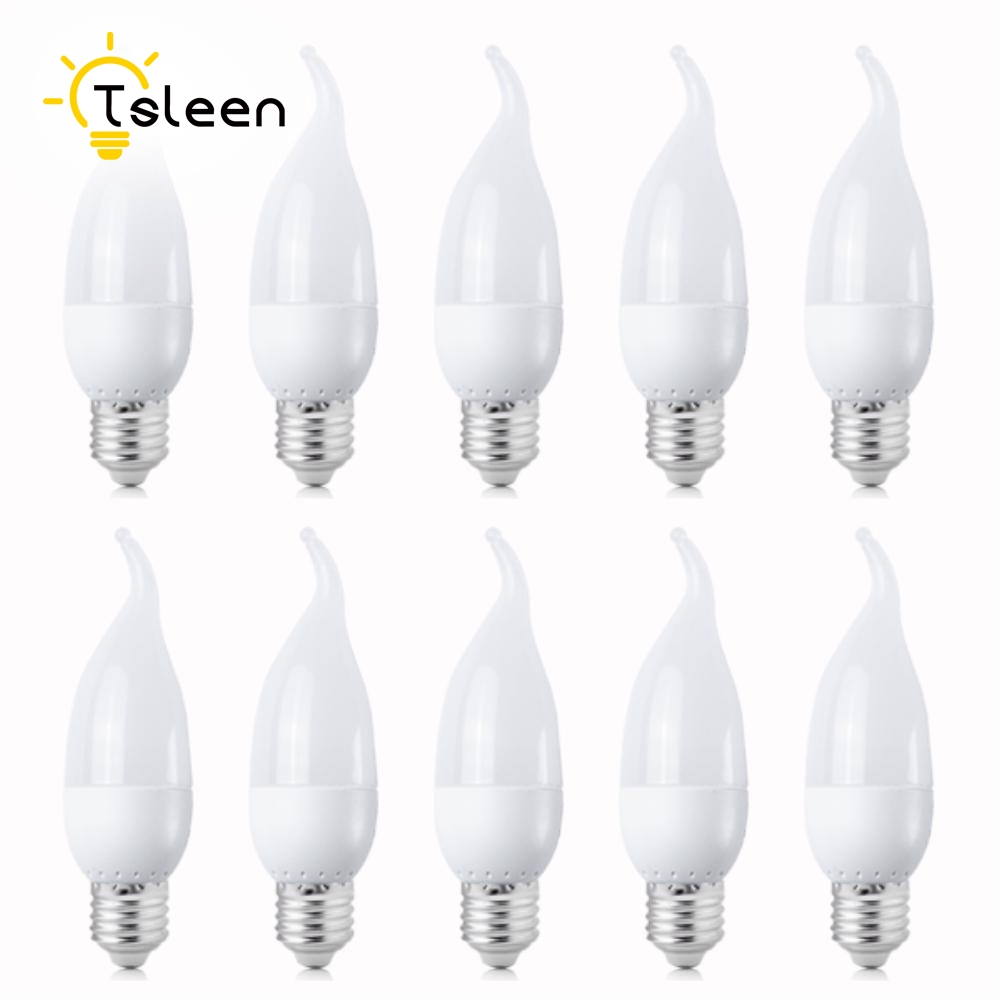Wholesale 10PCS spotlight E14 E27 3W LED Energy Saving Chandelier Candle Light Bulb Lamp 200Lumen Non Dimmable AC 220V 230V