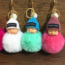 1Pcs Cute Fluffy Sleeping Baby Keychain Pompom Rabbit Fur Ball Key Chain Car Keyring Women Key Holder Bag Pendant Charm Jewelery недорого