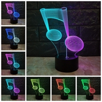 Music Note 3D LAMP USB Night Light Mixcolor RGB Fade LED Lighting Touch Base Acrylic Plate Table Desk Home Decorative Gifts LAVA