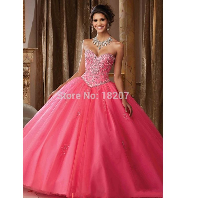 Fuchsia Puffy Cheap Quinceanera Dresses 2019 Ball Gown Sweetheart Tulle Beaded Crystals Sweet 16 Dresses