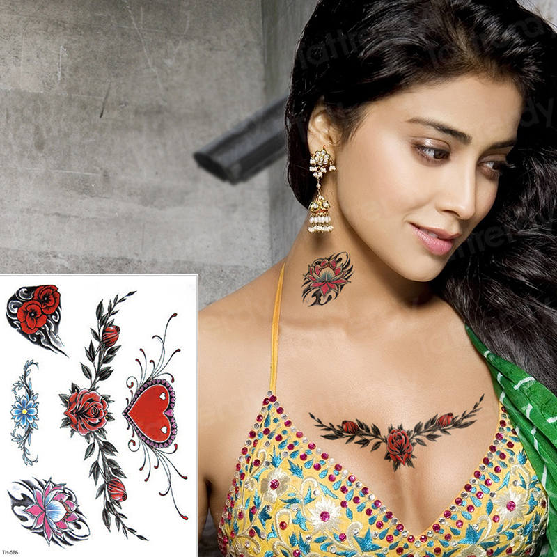 Temporary Tattoo Sticker Love Rose Tattoo For Women Chest Sexy Waist Body  Art \u0026 Bikini Girl Tatoo Waterproof Tatto Design Temporary Tattoo Girls