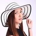 3 Color New Arrival Straw Shade Beach Floppy Sun Foldable Black White Brown Khaki Wide Brim Women Hats Summer