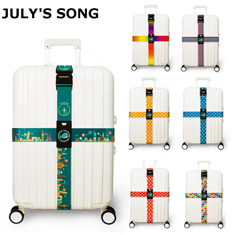 JULY'S SONG Luggage Strap Cross Belt Packing Adjustable Travel Suitcaseband Nylon Suitcase With Travel Accessories