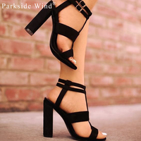 Suede Leather Girl S Heel Strap Sandals 5 8cm Navy Female High Heels Shoes Woman Khaki