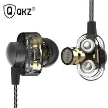 Cheaper Earphones QKZ DM8 Mini Dual Driver Extra Bass Turbo Wide Sound gaming headset mp3 DJ Field Headset fone de ouvido auriculares
