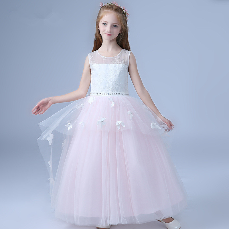 Beach Pink Long Party Dress Girls Tiered Layers Butterfly Wedding Vestido De Festa Longo 2018 Child Clothes 4 6 8 10 12 14 Years