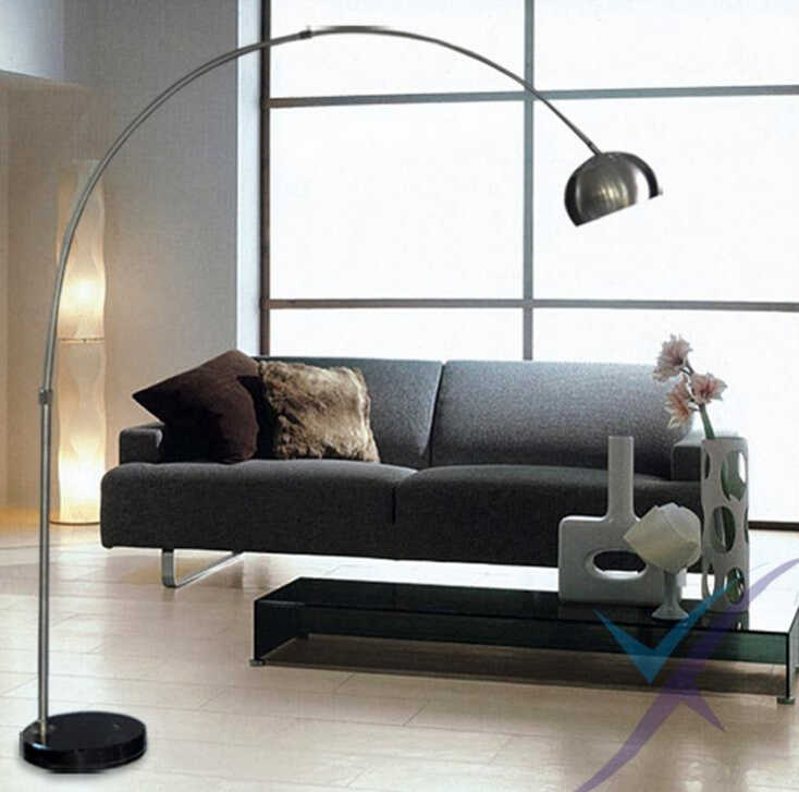 Nordic E27 chrome Black marble LED folding rotary Arc floor lamp for office work and study lamp bedroom living room study