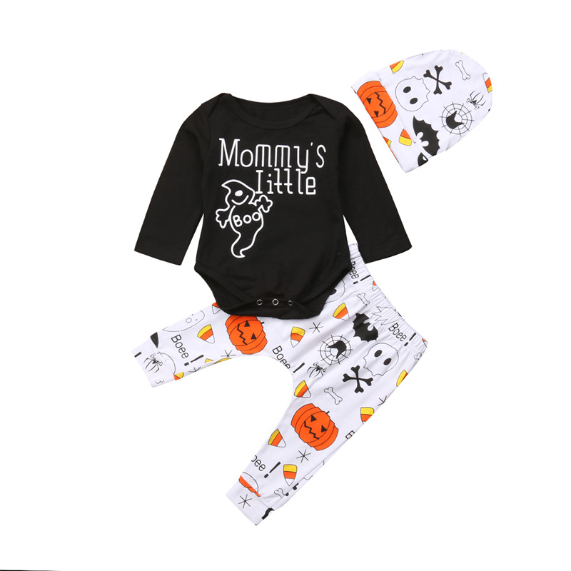 Halloween Baby Boys Girls Cartoon Print Romper+Hat Outfit Set Clothes