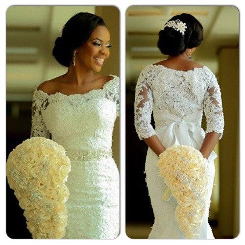 Aliexpress Buy Half Sleeve Mermaid Wedding Dresses With Belt
