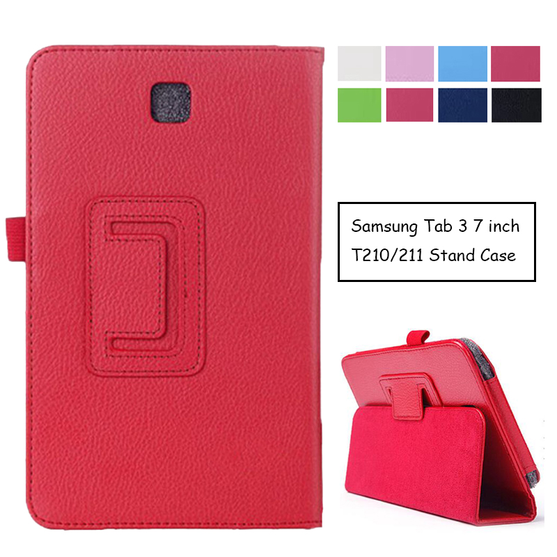 цена на Case for Samsung Galaxy Tab 3 T210 T211, GARUNK Flip Protective Matte Litchi Solid Leather Tablet Cover for Galaxy P3200 7.0''
