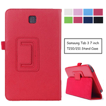"""Case for Samsung Galaxy Tab 3 T210 T211, GARUNK Flip Protective Matte Litchi Solid Leather Tablet Cover for Galaxy P3200 7.0"""""""