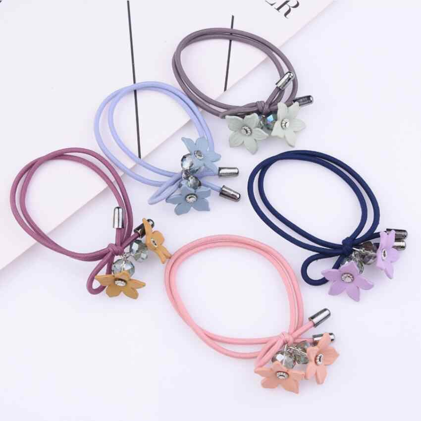 Knotted Crystal Hair Ring Flower Hair Rope Small Fresh Double Strand Hair Rope Jewelry For Women