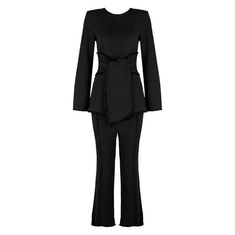 Deux Celebrity Pour 2 Noir Sexy Combinaisons Clubwear Combinaison Ceintures À 2019 Femmes Solide Manches Causal Pièces Longues Mode Élégant YwnaxnpE