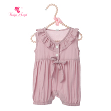 Kaiya Angel 2020 Newborn Baby Girl Summer Rompers Ruched Bow Sleeveless Cute Style Toddlers Covered Button Factory Wholesale