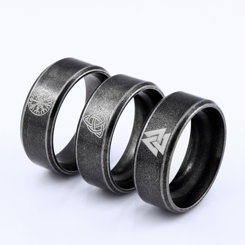 Beier 316L Stainless steel nose viking scandinavian Odin 's Symbol Valknut for men Wedding Ring Cool fashion Jewelry LR-R093