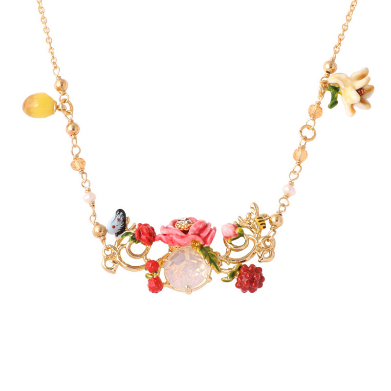 Warmhome Fashion Jewelry Enamel Glaze 2018 Gold Plant Flowers Zircon Long Pendants Necklace For Women Girls romantic jewelry trendy hand painted plants enamel glaze peony flowers tassel women long necklace