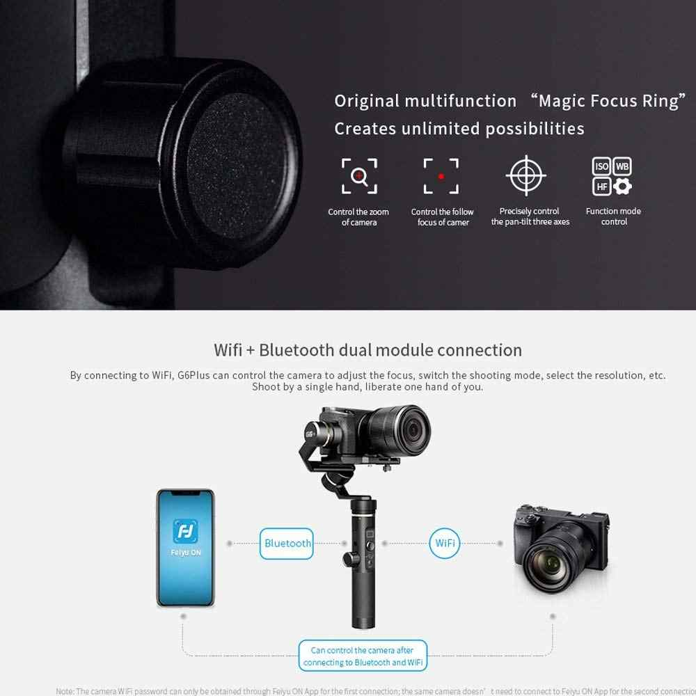 FeiyuTech Feiyu G6 Plus 3-Axis Handheld Bluetooth Wifi Gimbal Brushless  Stabilizer for iPhone GoPro 6 EKEN H9 Mirrorless Camera