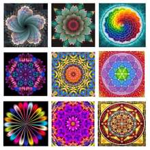 5D DIY Diamond Painting Full Drill Round Embroidery Colorful Mandala Floral Pattern Cross Stitch Wall Stickers