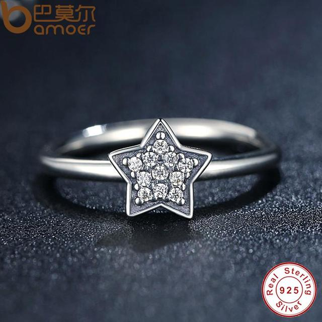 Sterling Silver Crystals Simple Star Clear CZ Ring