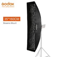 """Godox softbox 35x160cm 14 """"x 63"""" caixa macia retangular portátil da grade do favo de mel com montagem de bowens para o flash do estúdio"""