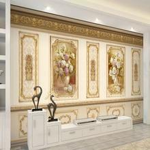 Пользовательские Европейский роскошный сад цветок Золото 3D настенная ткань гостиная диван ТВ фон Декоративные Настенные обои настенная живопись