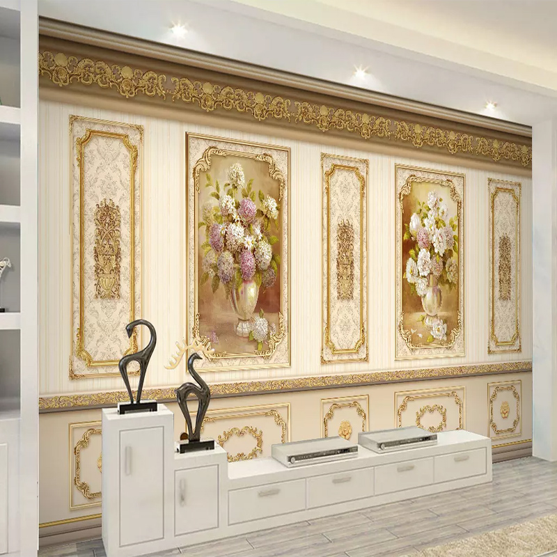 Custom European Luxury Garden Flower Gold 3D Wall Cloth Living Room Sofa TV Background Decorative Mural Wallpaper Wall Painting