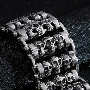 Image 3 - Fongten Vintage Cranio Largo Metal Biker Vichingo In Acciaio Inox Braccialetto di Fascino Grande Argent Degli Uomini del braccialetto Dei Monili